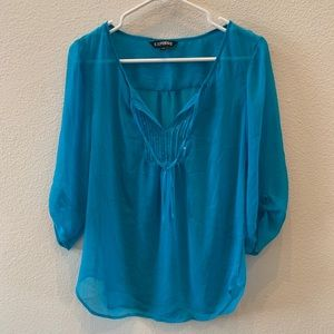 Express blue semi sheer blouse with sequin detail